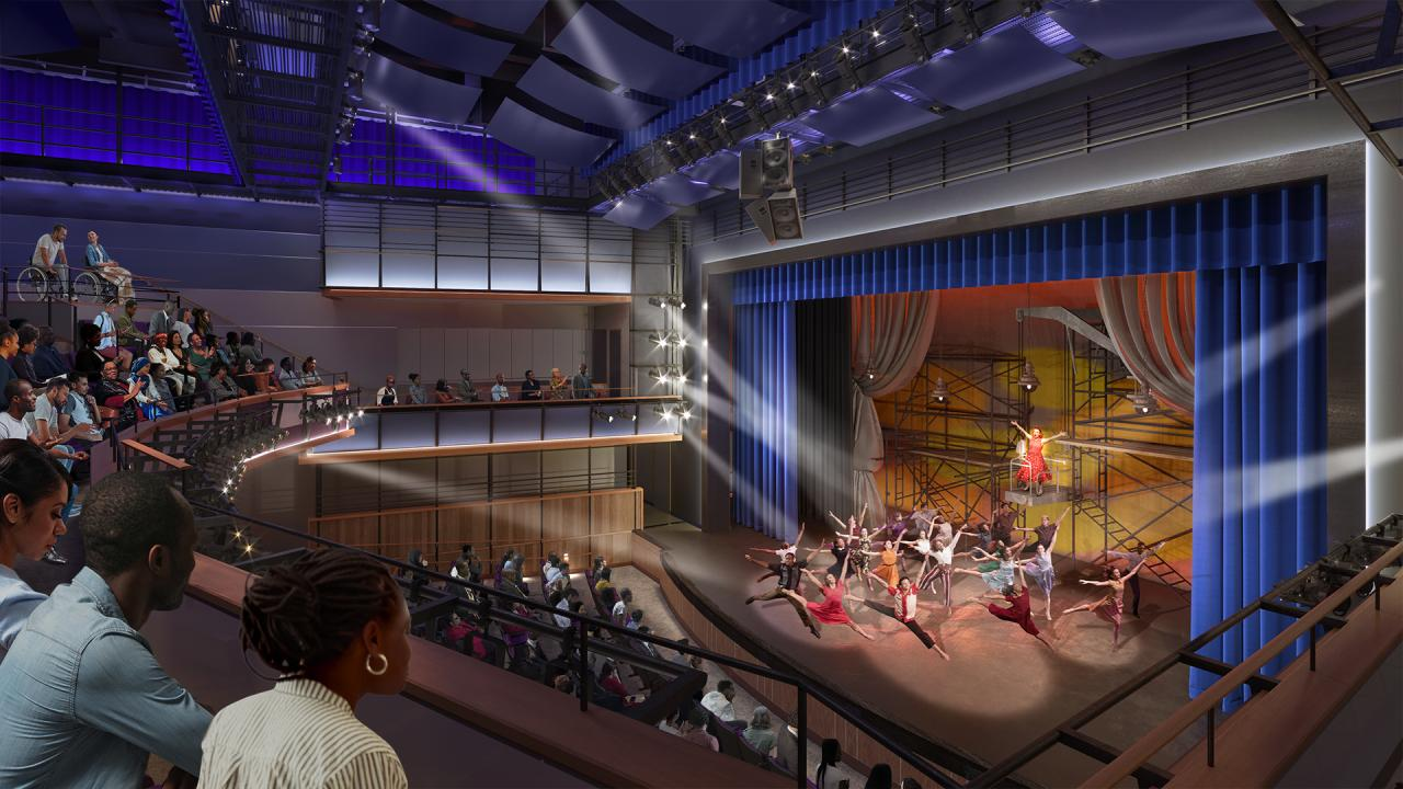 Interior rendering of an auditorium with a performance in progress