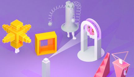 architectural objects rendered on a purple background