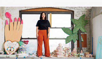 Yvette Mayorga with artwork