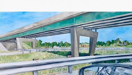 Painting of overpass by Howard Kanter