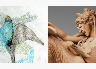 Bird painting and sculpture by Barbara Kendrick