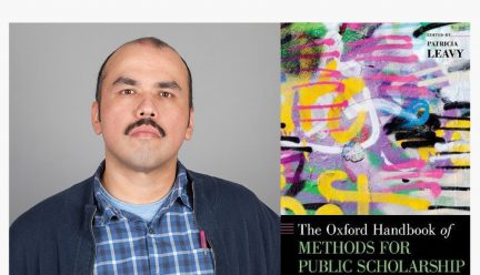 Head shot of Jorge Lucero with cover of The Oxford Handbook of Methods for Public Scholarship