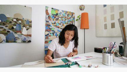 Veronica Pham working in her studio