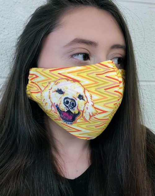Woman wearing a mask with a yellow zigzag pattern and a labrador