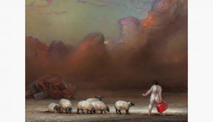 Painting of sheep and a naked person carrying a suitcase