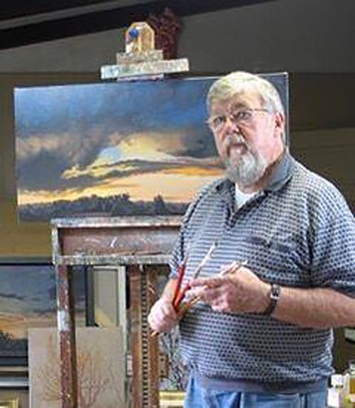 Harry Breen with painting