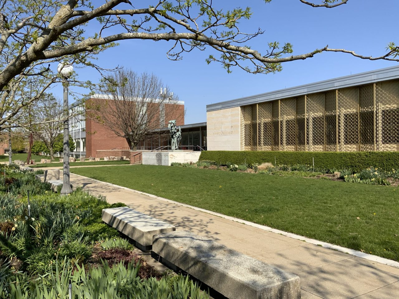Photo of the A&D Buidling on a sunny spring day