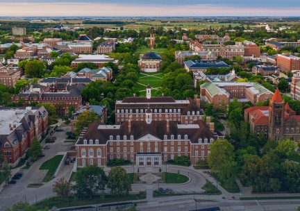 Aerial view of the campus looking south from the Illini Union