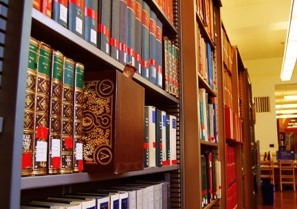 Photo of bookshelves in the Ricker Library of Art & Architecture