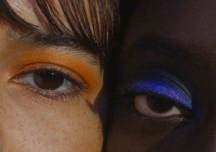 Closeup of two models' eyes