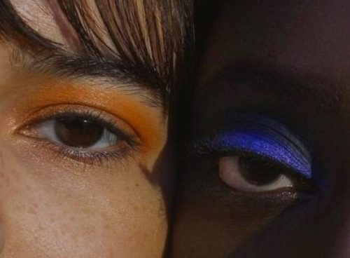 Closeup photo of two models' eyes