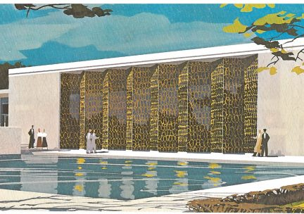 Vintage midcentury watercolor sketch of the Krannert Art Museum with reflecting pond in the foreground