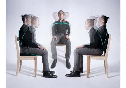 Composite photo of three figures sitting in chairs with multiple exposure that shows the back is adjustable