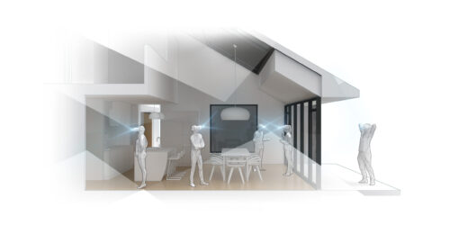 Architectural rendering of figures wearing VR headsets in a designed interior