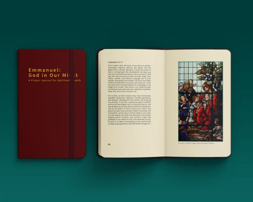 Photo of a book, showing it closed with the thesis title and opened with a picture of stained class window