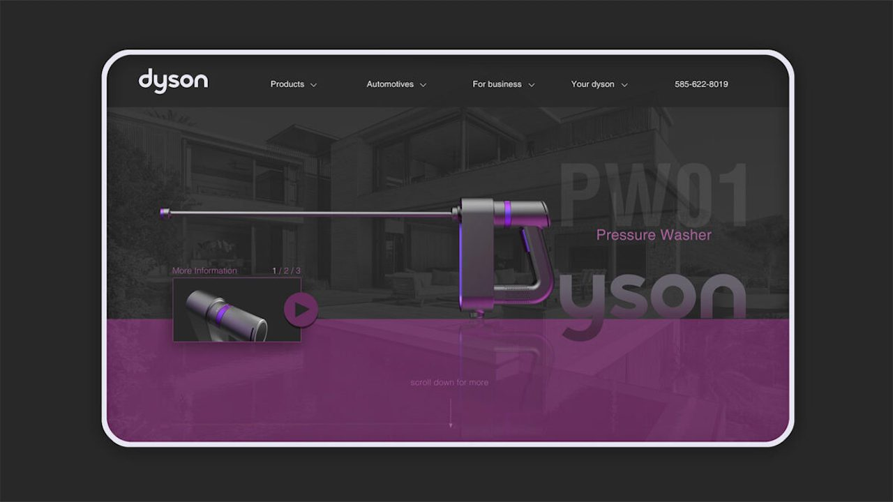 Concept drawing of Dyson pressure washer