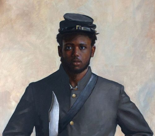 Painting of a soldier in a blue uniform