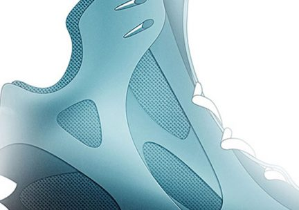 Detail of a design rendering of a blue high-top athletic shoe