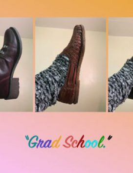 Design with three photos of a foot wearing different shoes and the caption