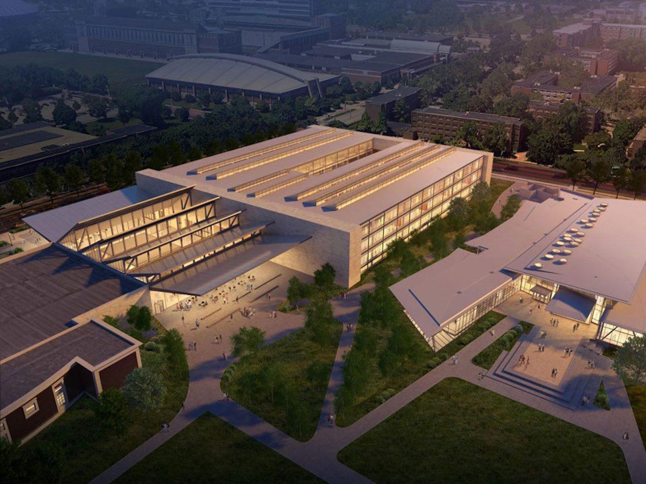 Designer's rendering of proposed expansion of Art & Design Building