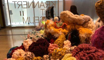Crochet coral reef exhibit at Krannert Art Museum