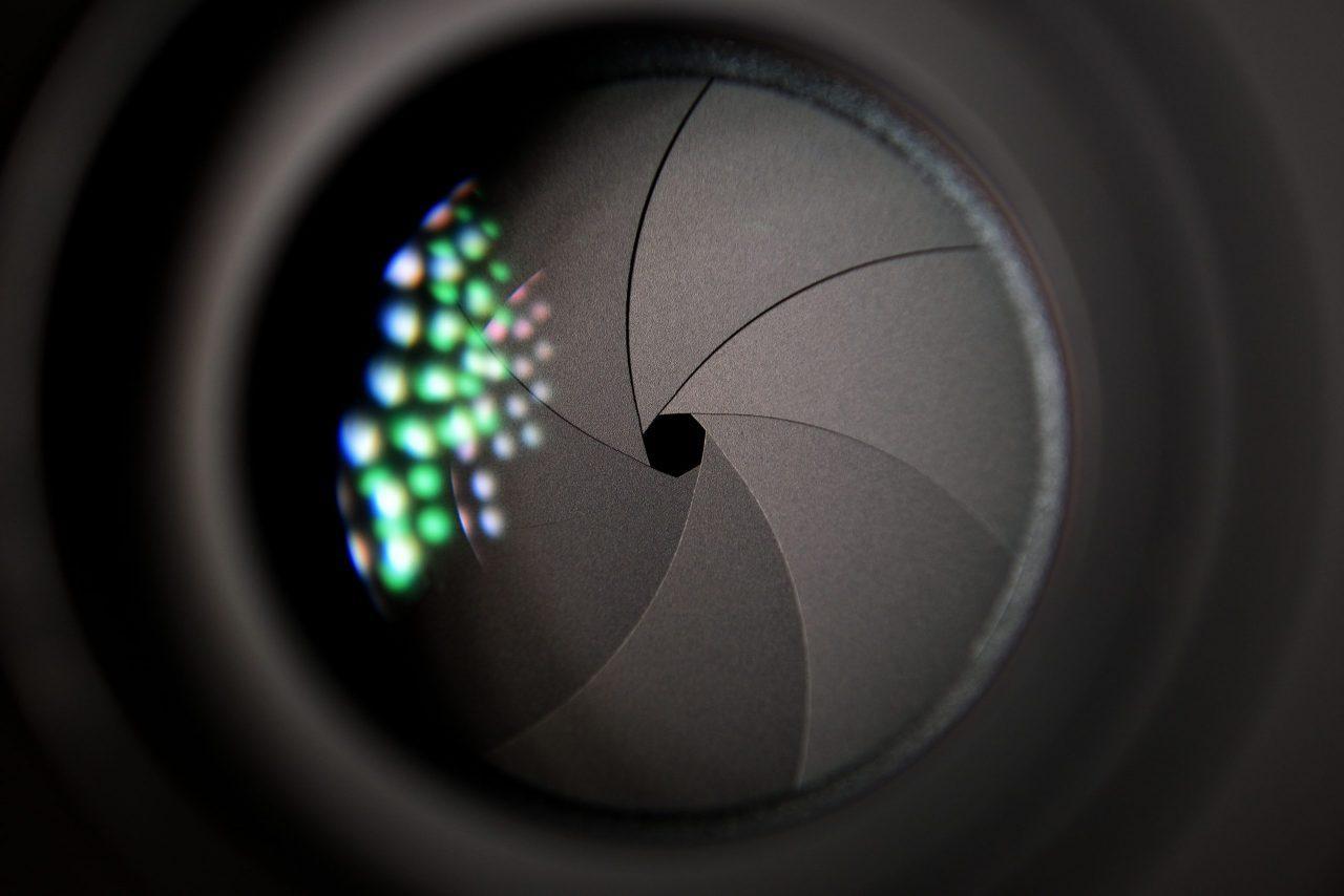 Closeup photo of a aperture of a camera lens