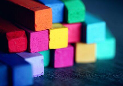 Closeup of colorful pastel sticks.