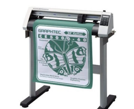 vinyl cutter with green and white vinyl
