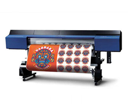 large vinyl printer/cutter with orange and white prints on the front