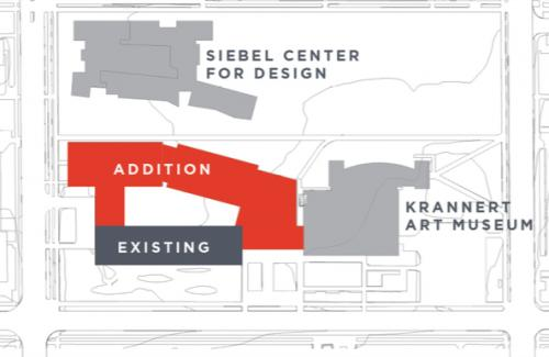 Map of the proposed A&D addition, shown in relation to existing A&D Building and the new Siebel Center for Design
