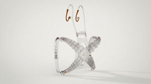 Photo of x-shaped model for mixed reality audio system with insect-like antennae