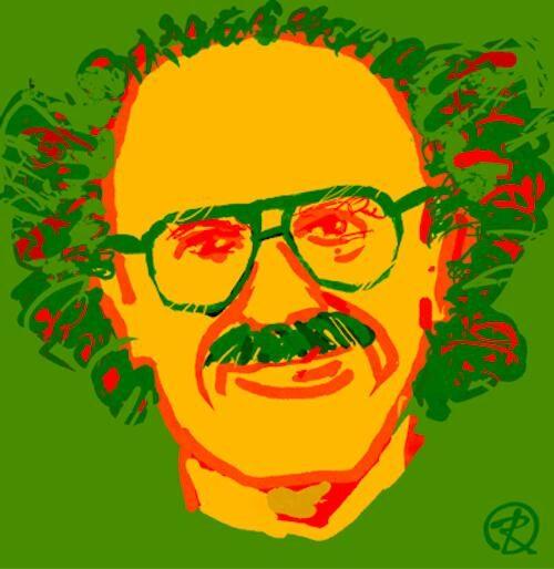 Bright graphic digital portrait of Ed Zagorski with aviator glasses, mustache and expressive hair