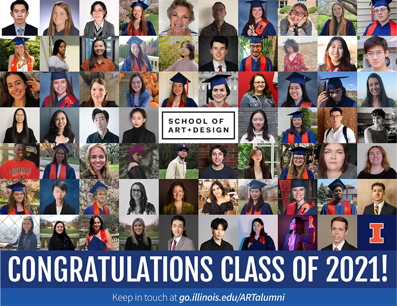 Congratulations card with tiled portraits of 70 graduates