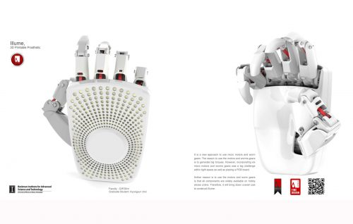 Design rendering of a prosthetic hand, back and front