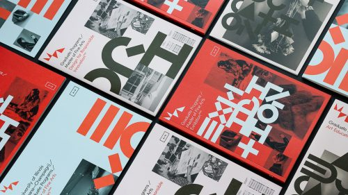 Photo of multiple colorful brochure covers