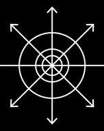 White radial linear design on a black ground