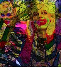 Digital collage with cartoonish characters with bright makeup