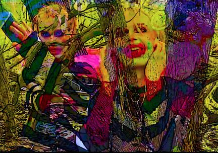 Digital collage with cartoonish figures wearing colorful makeup