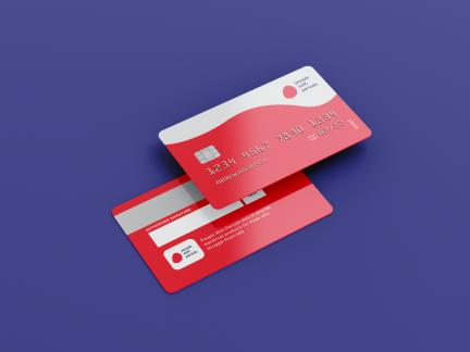Photo of front and back of a credit card type card branded with the people with periods logo.