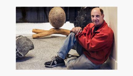 Jeffrey Breslow with sculpture