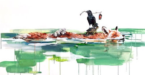 Painting of a green water surface with a crow carrying a flower riding on the back of a swimming fox