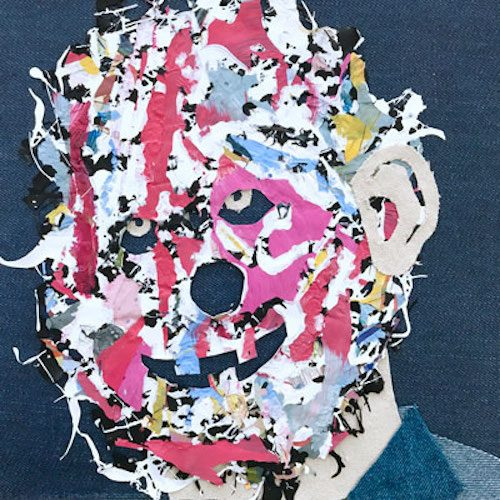 Semi-abstract collaged portrait