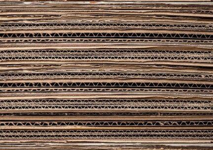 Closeup of a stack of corrugated cardboard