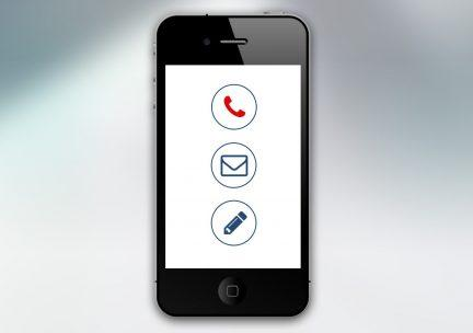 Smartphone showing graphic telephone, email, and pencil icons