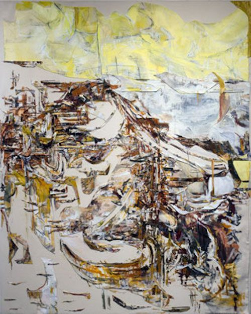 Abstract landscape painting with yellow sky