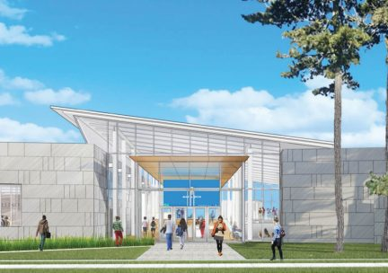 Perspective drawing of the new Siebel Center for Design building
