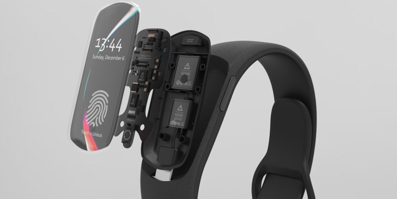 wearable smartband product exploded view revealing inner components