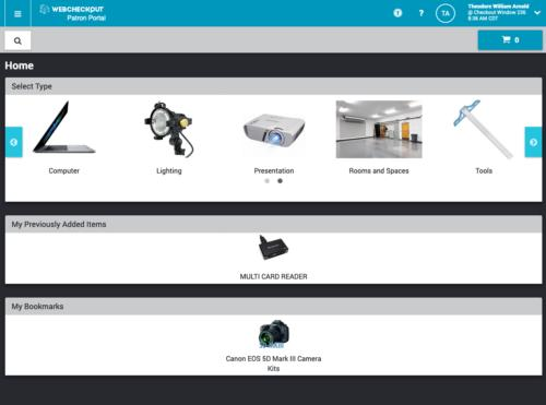 screen shot of webpage with equipment category icons