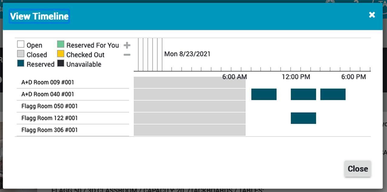 screenshot of a timeline of classroom availability