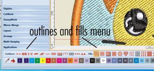 Outlines/Fills Menus